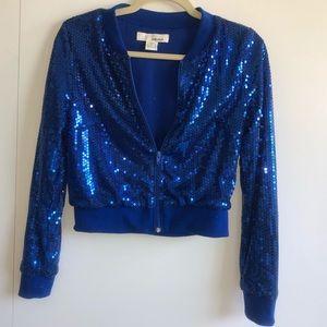 Blue sequined bomber jacket